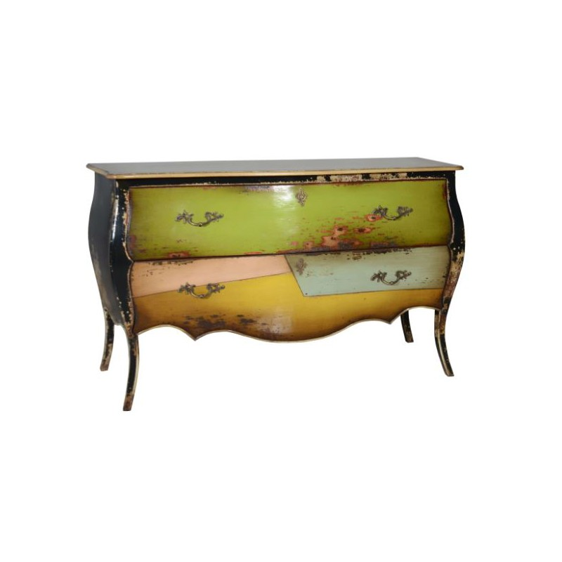 Artisan Custom Green and Yellow Distressed Finished Chest