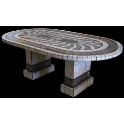 Grey North Star Mosaic Table Top - Shown with Optional Matching Pompeii Table Base Set