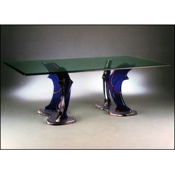 Four Jumping Dolphins Acrylic Dining Table with 12 Color Options (with or without top)