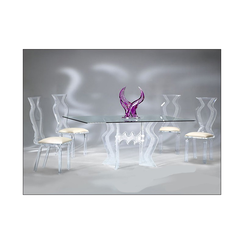 Crystallized Wave Acrylic Dining Table Base Set (with or without top)