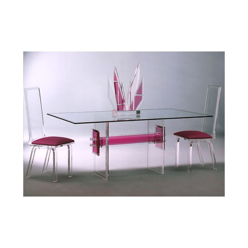 Connected Acrylic Dining Table with 12 Color Options (with or without top)
