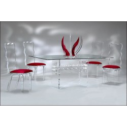 Wave Crystal Acrylic Dining Table (with or without top)