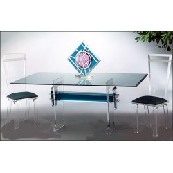 Conquest Acrylic Dining Table with 12 Color Options (with or without top)