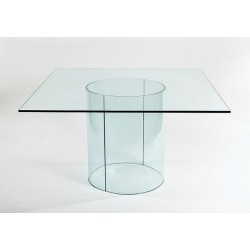Curved Glass Dining Table Base Set