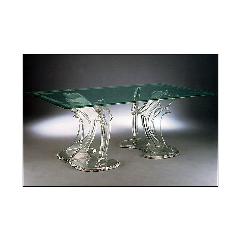 Triple Dolphin Acrylic Dining Table with 12 Color Options (with or without top)