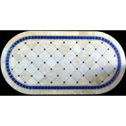 Azul Mosaic Table Top shown in Racetrack Oval Shape
