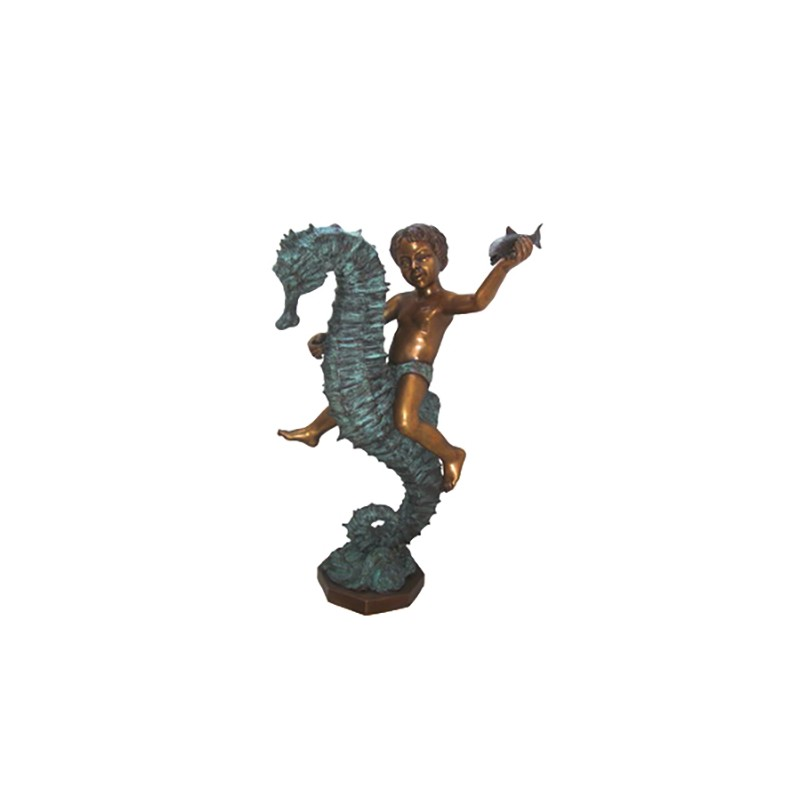 Bronze Boy Riding Seahorse Sculpture