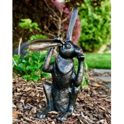 Bronze Pondering Bunny Rabbit Sculpture