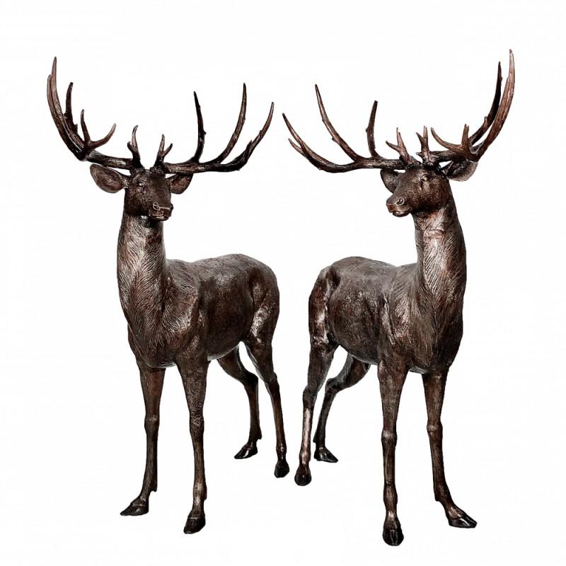 Bronze Deer Sculpture Pair
