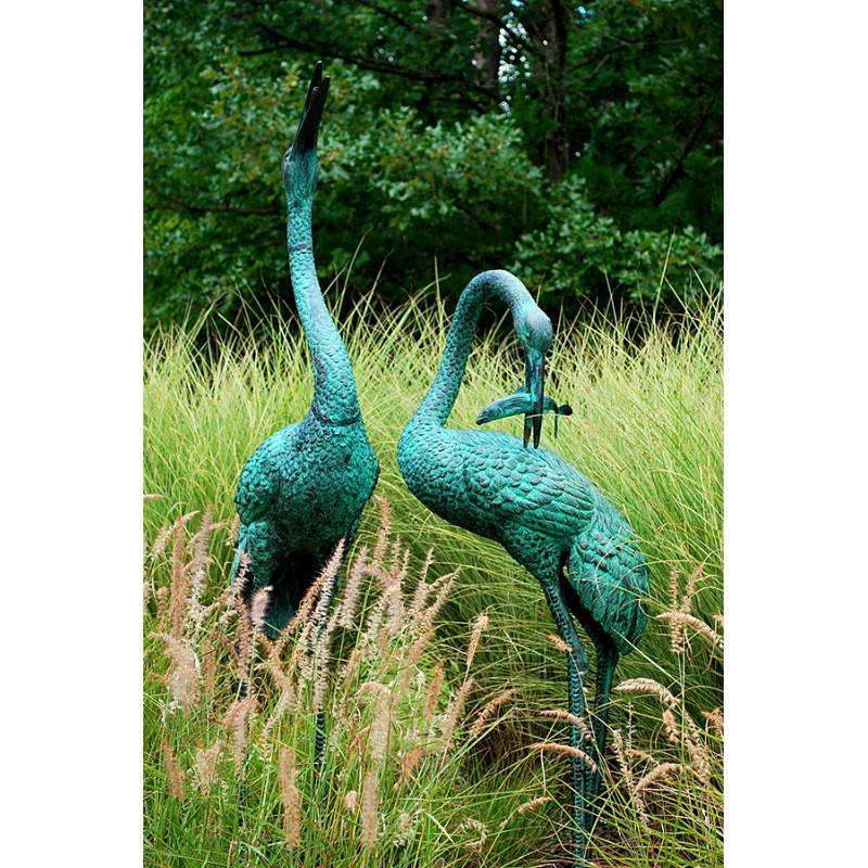 Bronze Crane Fountain Sculpture Pair