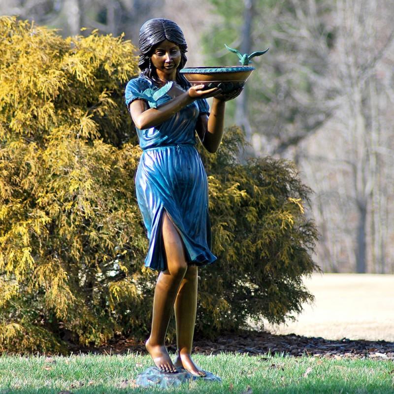 Bronze Girl with Birdbath Fountain Sculpture
