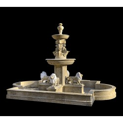 Marble Four Lions Tier Fountain with Basin