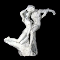 Marble Lovers Fountain Sculpture - White Marble
