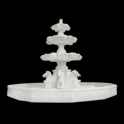 Marble Three Tier Horse Fountain with Basin