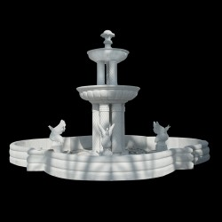 Marble Two Tier Column Fountain with Swans & Basin