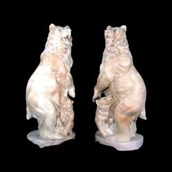Marble Bear & Cub Sculpture Set
