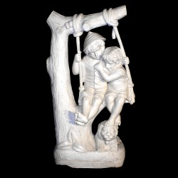 Marble Children on Swing Sculpture