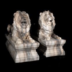 Marble Lying Lions on Pedestal Sculpture Pair