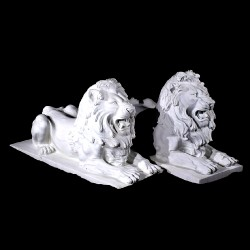 Marble Lying Lions Sculpture Pair