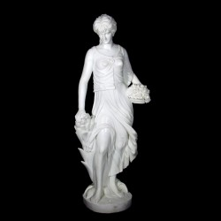 Marble Lady with Flowers Sculpture
