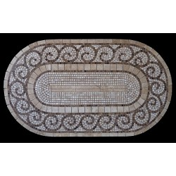 Grecia Mosaic Table Top - Racetrack Oval Shape