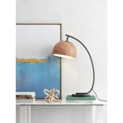 Wood Shade Table Lamp - Brown and Black