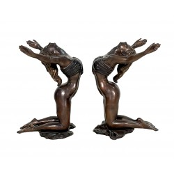 Bronze Two Ladies Coffee Table Sculpture - Custom