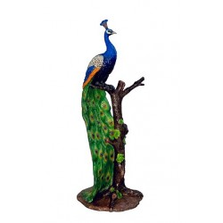 Bronze Colorful Peacock on Tree Sculpture