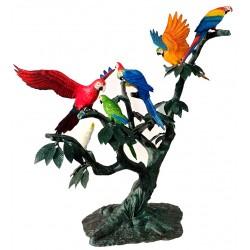 Bronze Parrots in Tree Sculpture