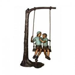Bronze Children on Tree Swing Sculpture