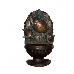 Bronze Sea Turtle Trio Wall Fountain Sculpture