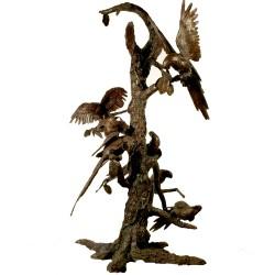 Bronze Bevy of Birds in Tree Sculpture