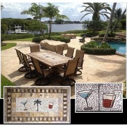 Tropicana Mosaic Table Top - Shown Outside