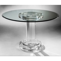 Round Column Thick Acrylic Dining Table (with or without top)