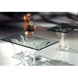 Two Towers Clear and Crystallized Acrylic End Table (With or Without Top)