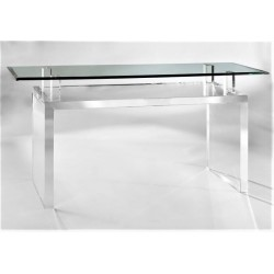 Orient Acrylic Console Table with Glass Top