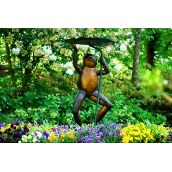 Bronze Frog holding Lilly Pad Fountain