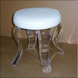 Acrylic Round Vanity Stool with Fabric Choices