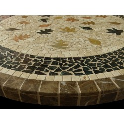 Fall Leaves Mosaic Table Top - Side View