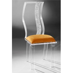 Acrylic Wave Dining Chair with Fabric Choices