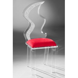 Acrylic Flame Dining Chair with Fabric Choices