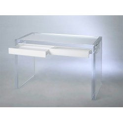 Thick All Acrylic Desk with White or Black Drawers
