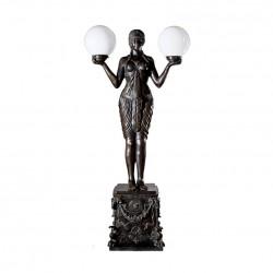 Bronze Art Deco Goddess atop Pedestal Torchiere