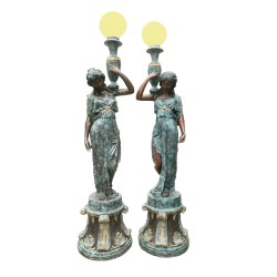 Bronze Lady holding Urn Torchiere Sculpture Pair