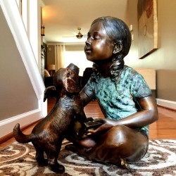 Bronze Girl Sitting with Dog Sculpture