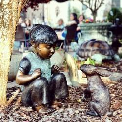 Bronze Girl with Bunny Rabbit Sculpture