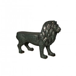 Bronze Lion Bench Sculpture