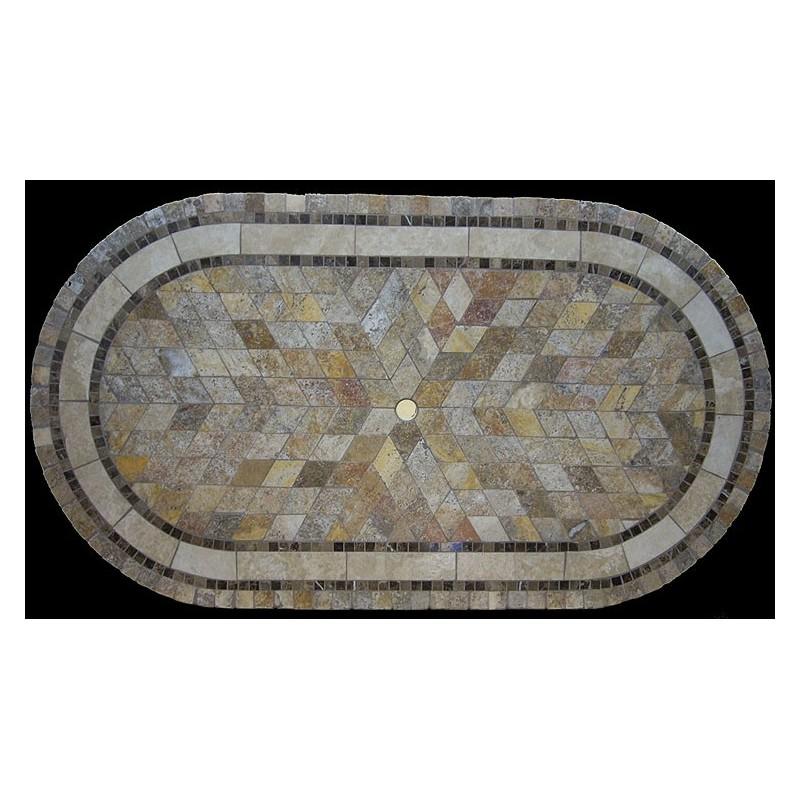 Sedona Mosaic Table Top - Racetrack Oval Shape and Optional Umbrella Hole