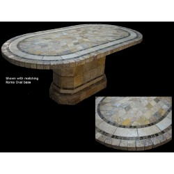 Sedona Mosaic Table Top - Shown with Optional Matching Roma Oval Table Base