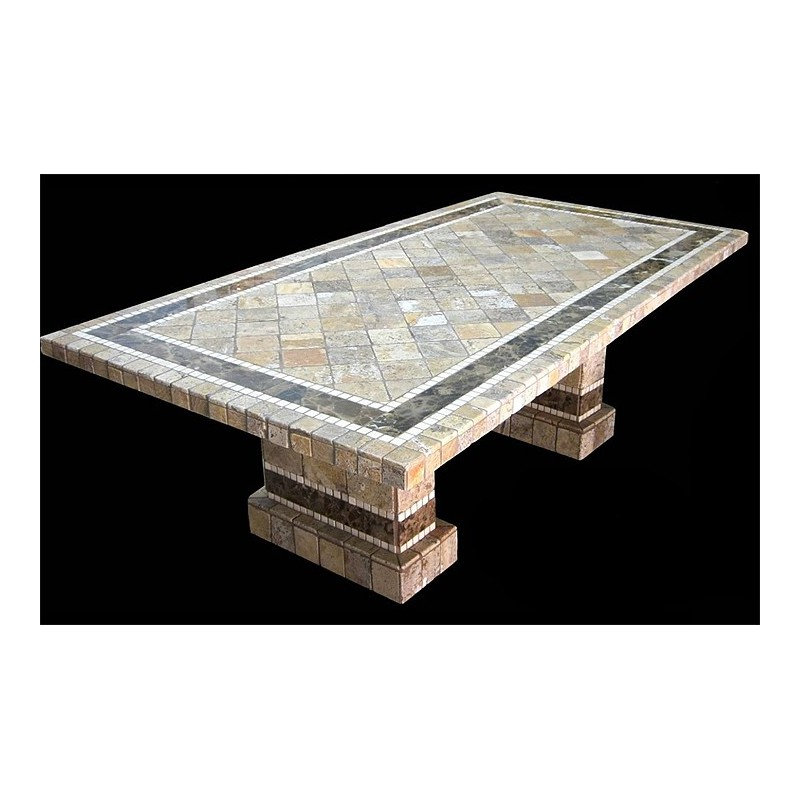 Clementine Rectangle Stone Tile Dining Table with Matching Pompeii Table Base Set